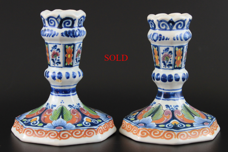 2 Vintage Delft OUD Holland Candlesticks