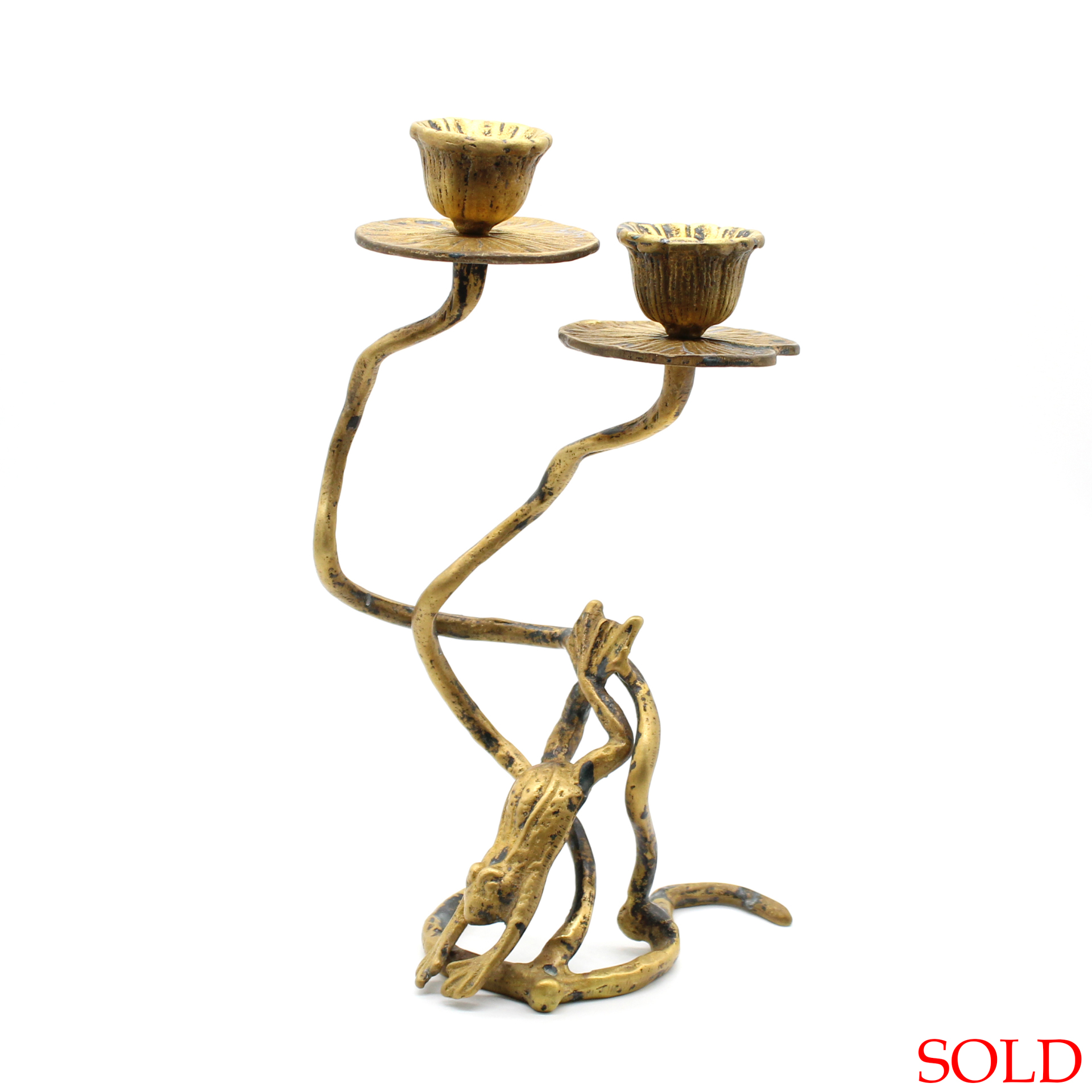 SOLD Vintage Brass Leaping Frog & Lily Pad Candle Holder