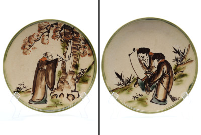 (2) Antique Porcelain Japanese Swatow Styled Plates