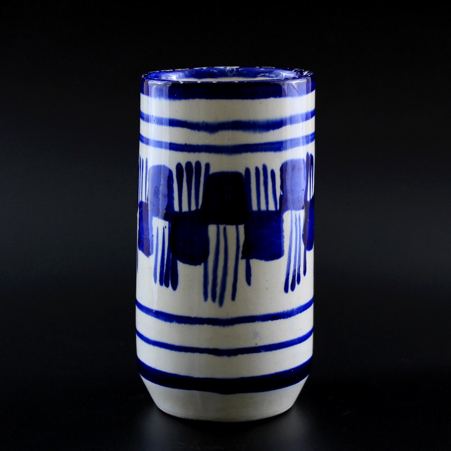 Blue & White Brush Stroke Ceramic Vase