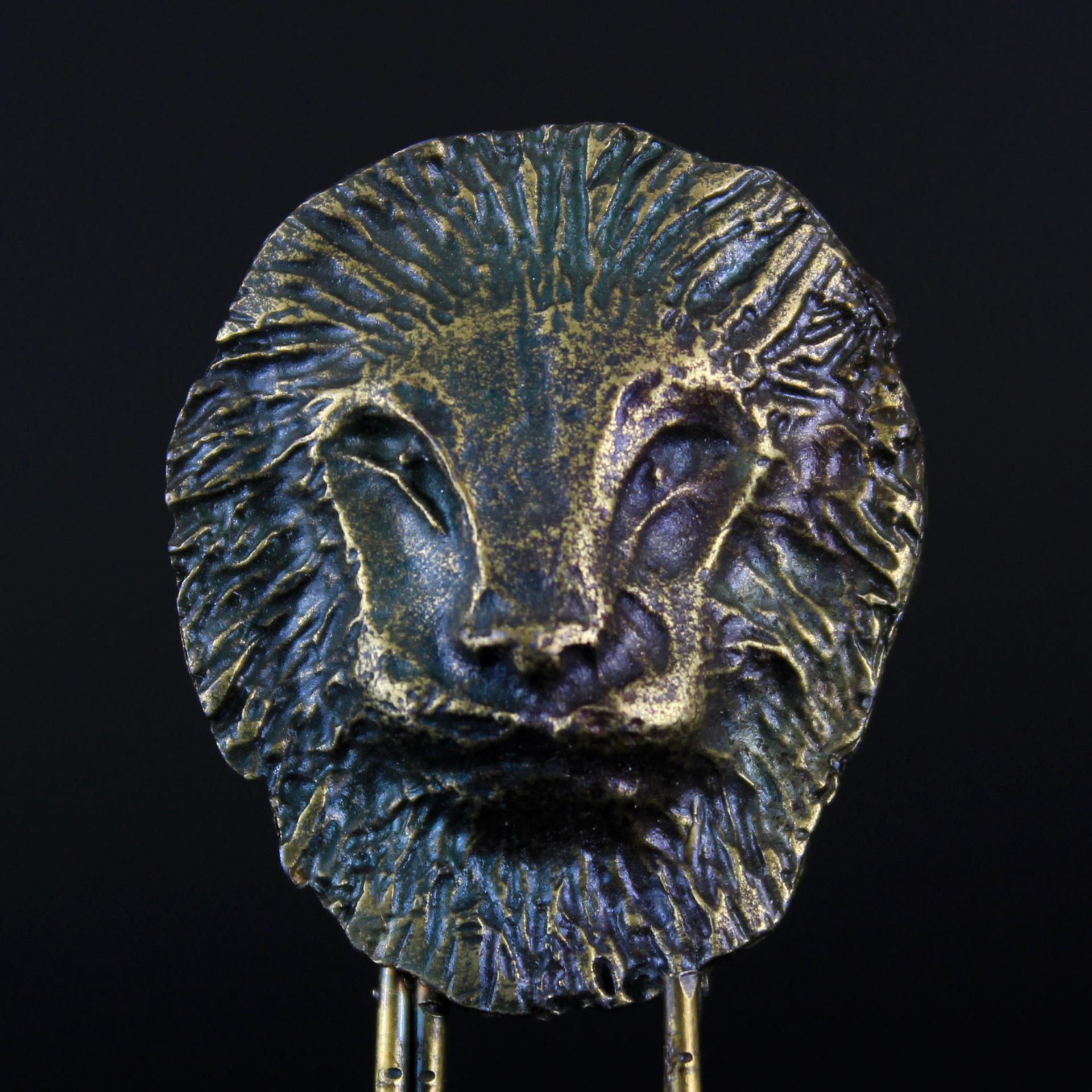 Vintage Lion Head Brass Paper Clip