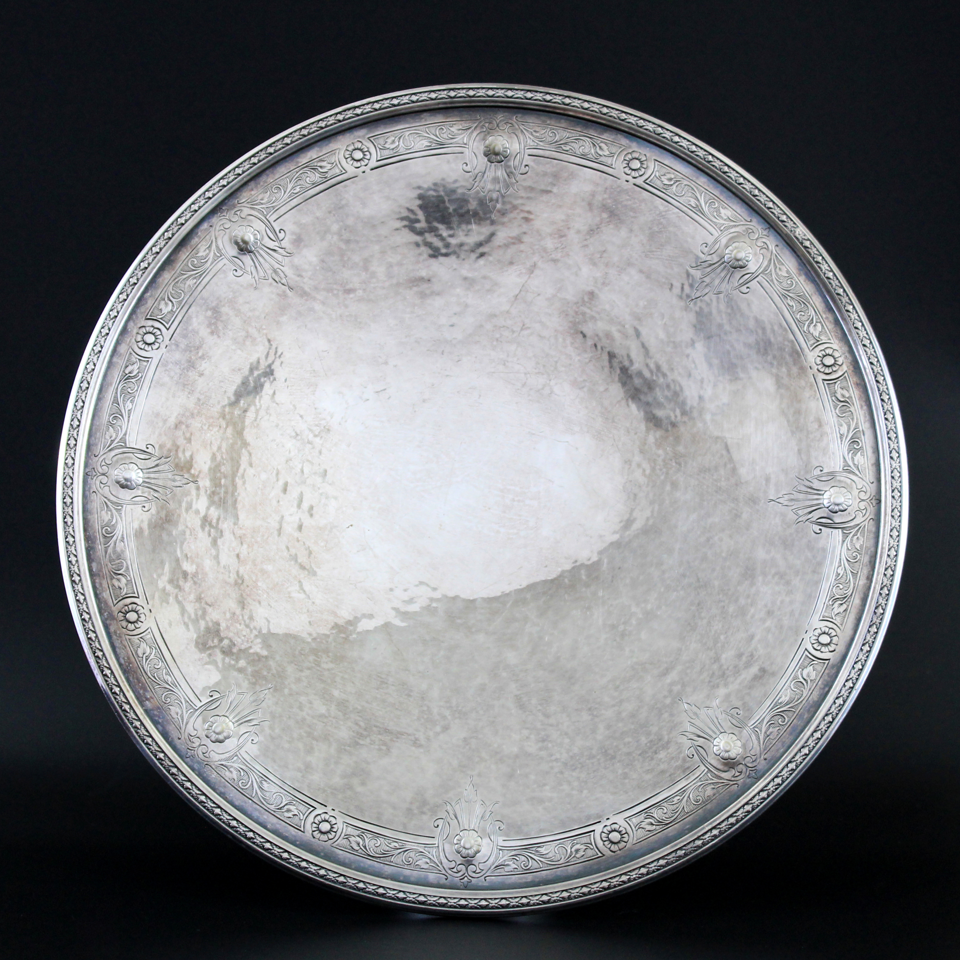 """Vintage 10""""D Colonial Silver Plated Serving Plate"""