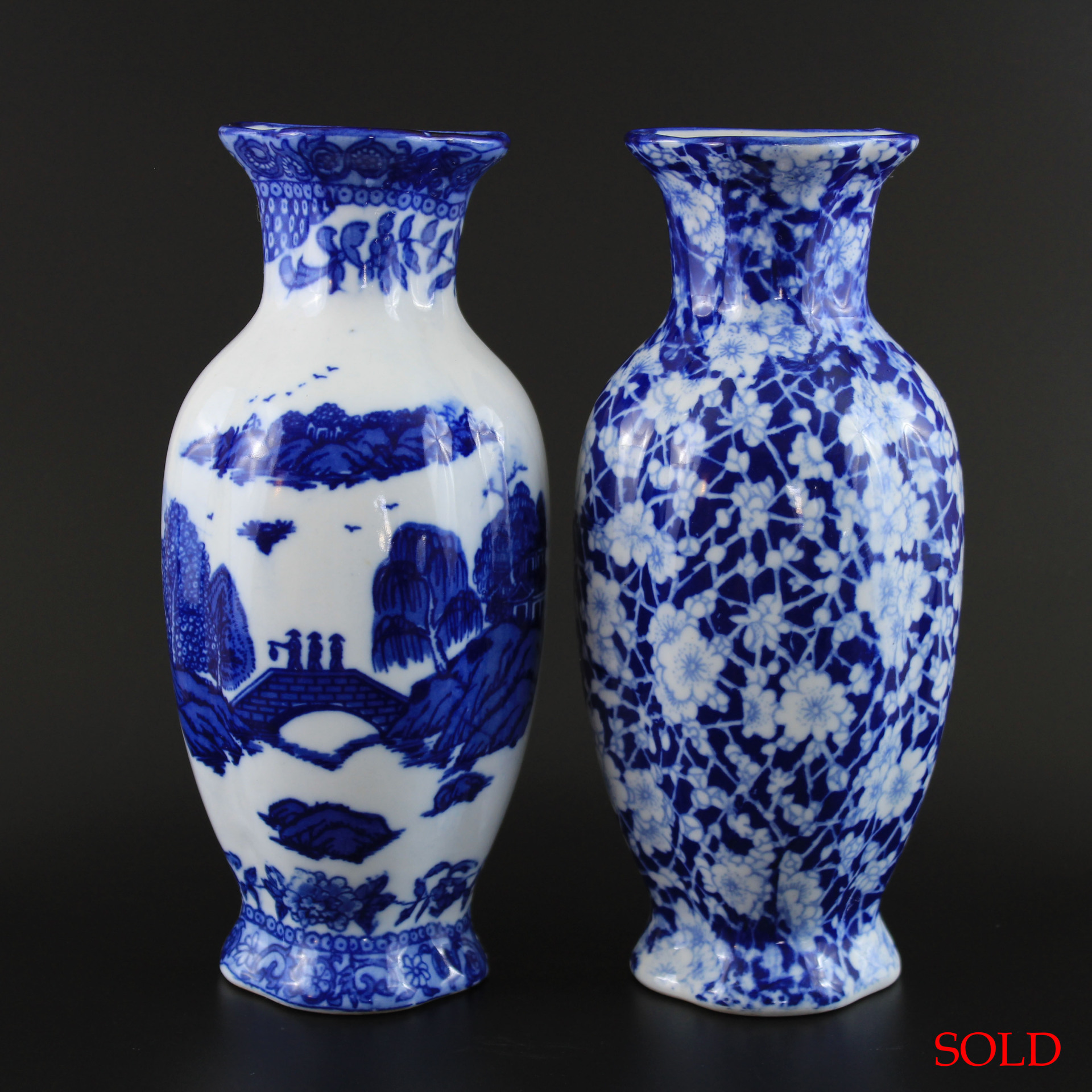 2 Vintage Chinese Blue & White Porcelain Wall Vases