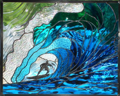 Stained Glass Surfer Riding The Wave