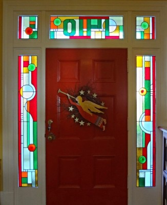 Folk Art Abstract Transom And Sidelights
