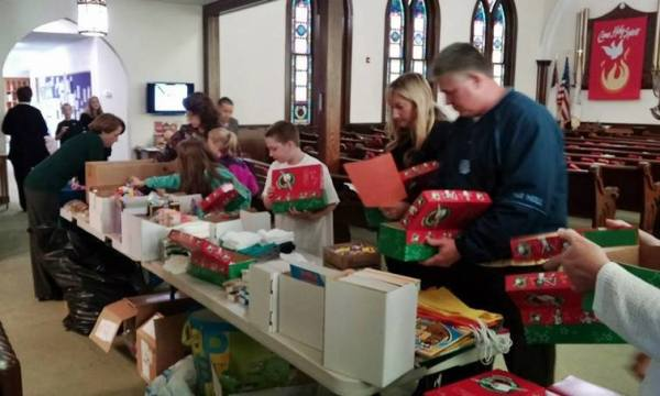 Filling boxes with love