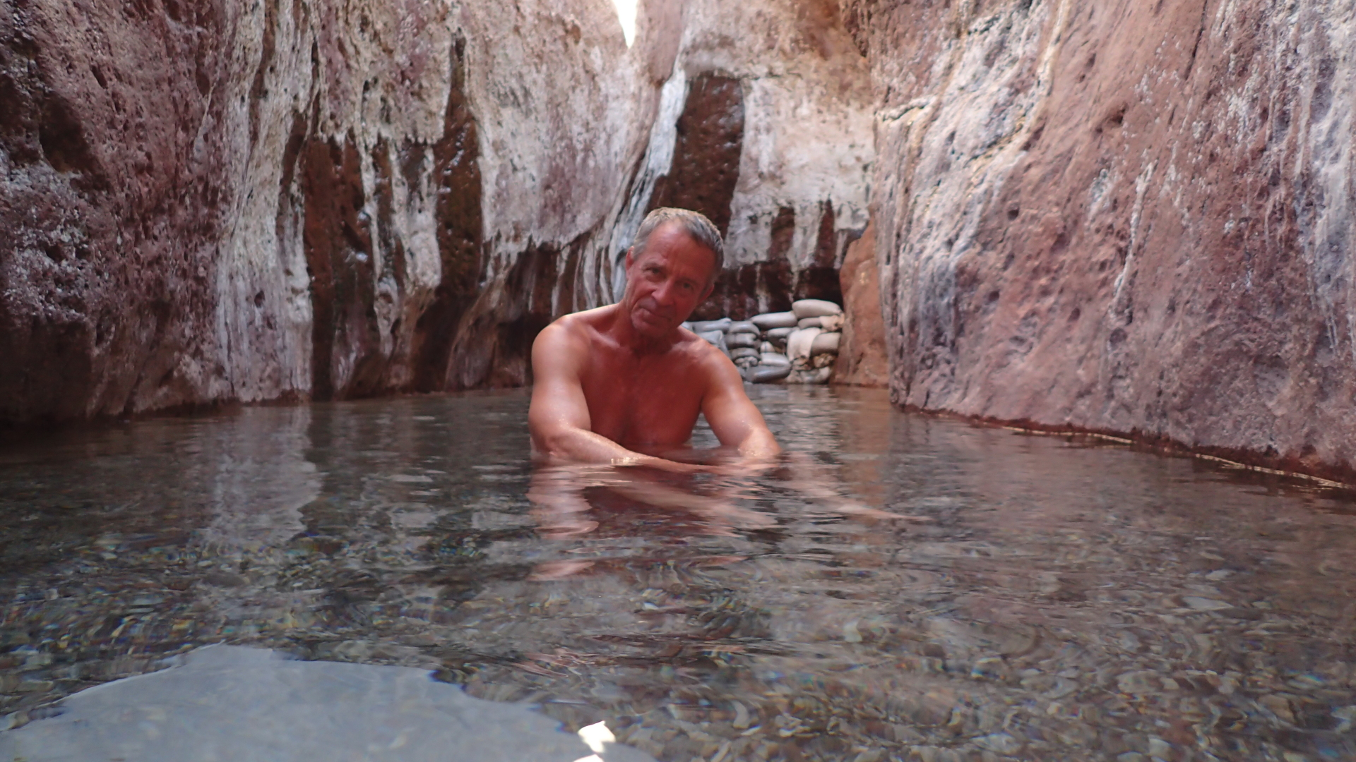 Robert Finlay soaking in the Arizona Hot Springs