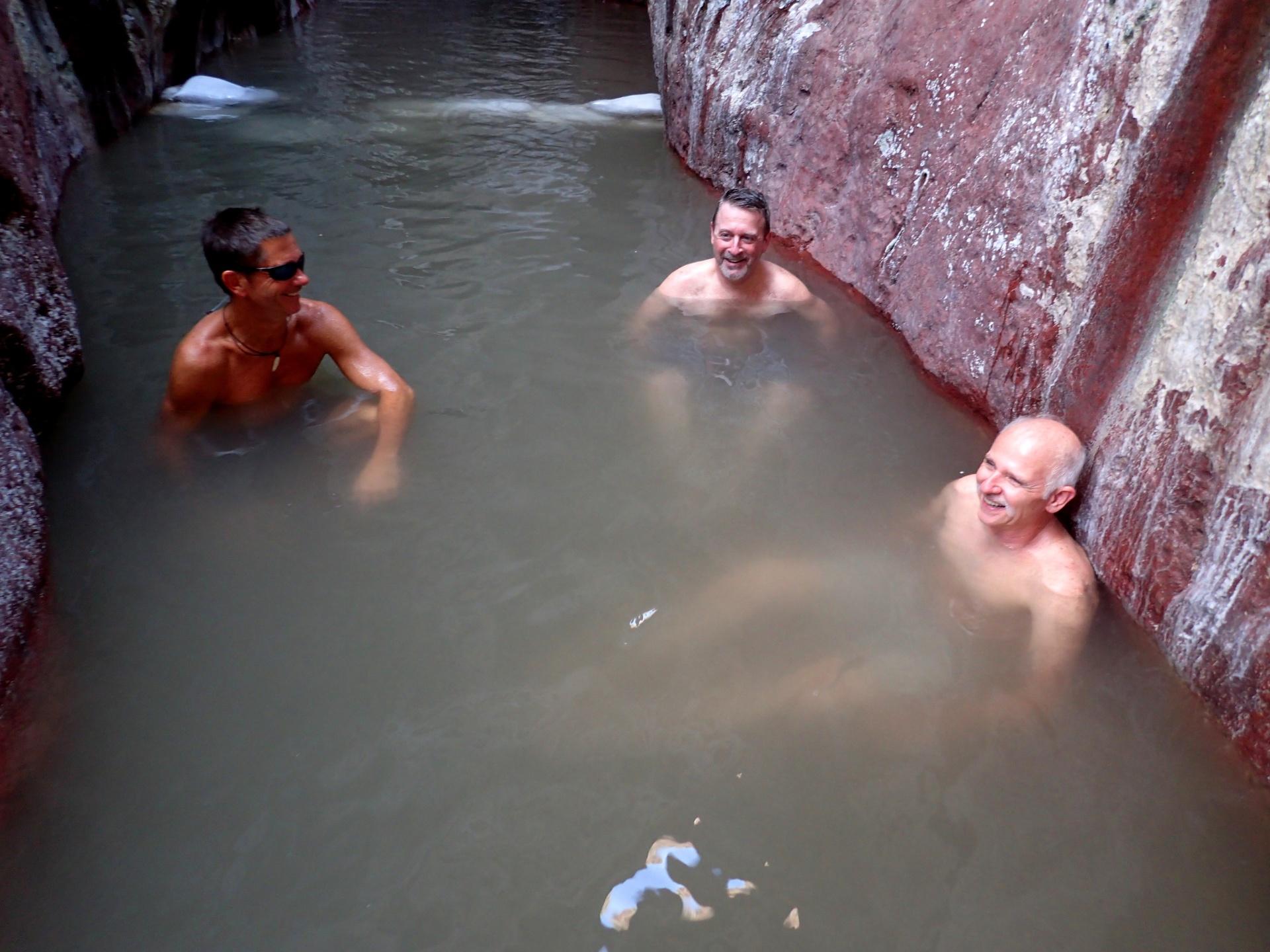 Chuck, Mark, and Bobby enjoying the Arizona Hot Springs
