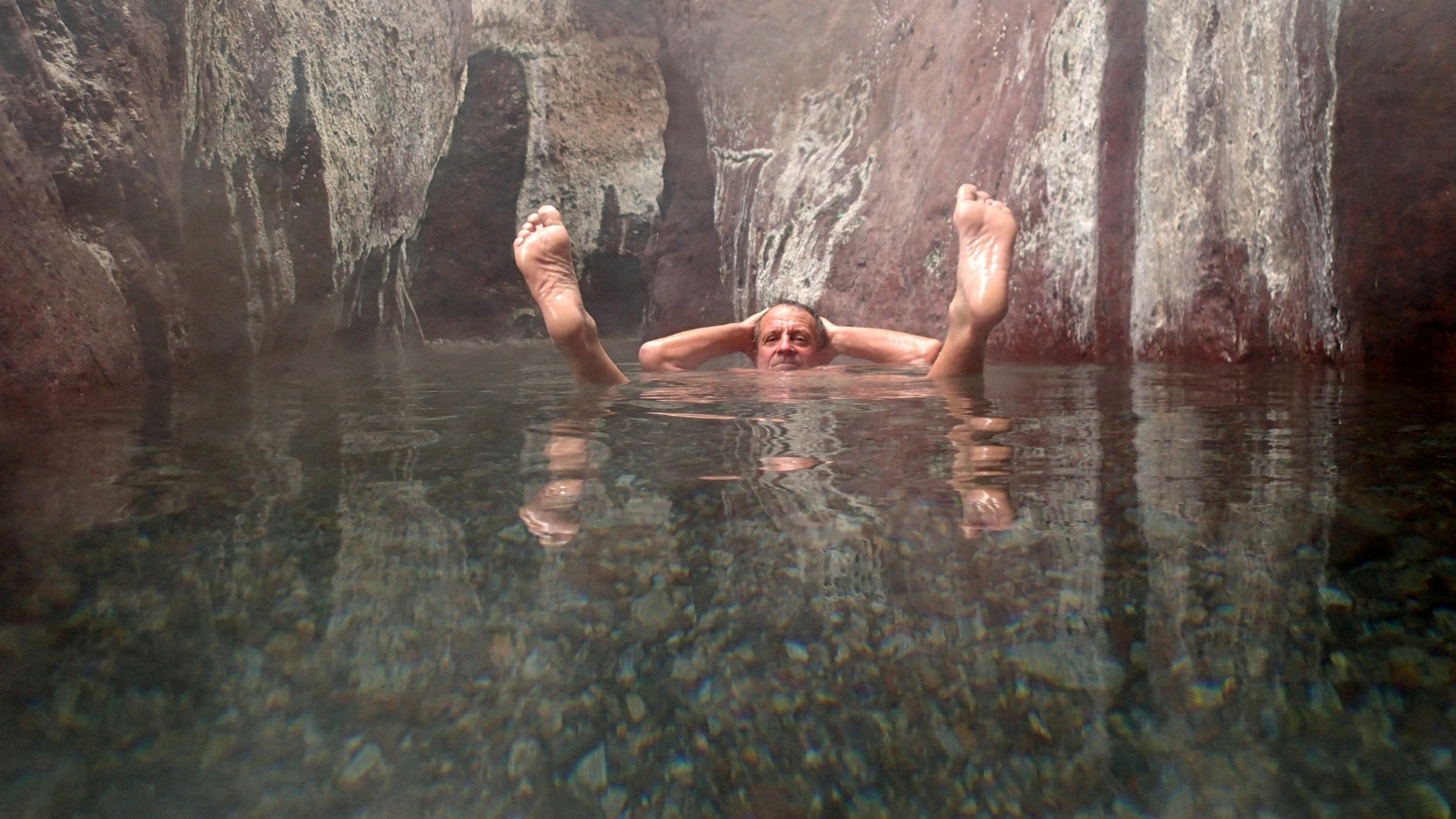 Soaking in a natural Arizona Hot Springs