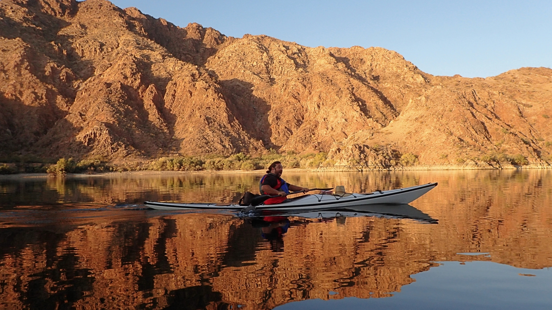 Morgan Eisen an early morning paddle in the Black Canyon