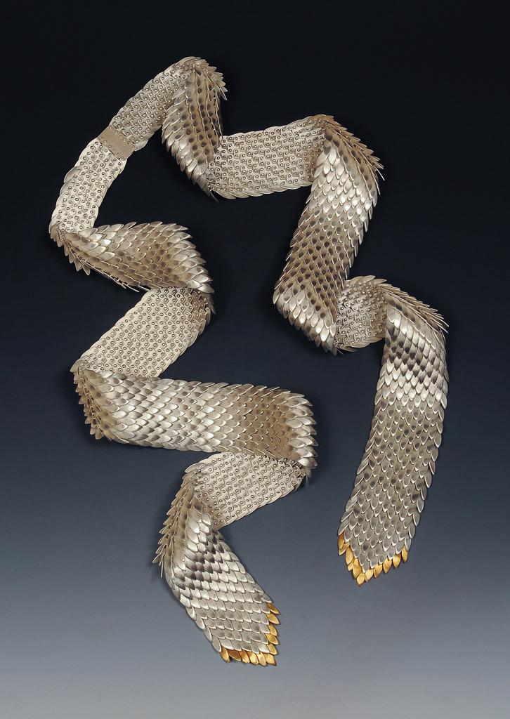Neckpiece. Sterling silver, 18k gold.
