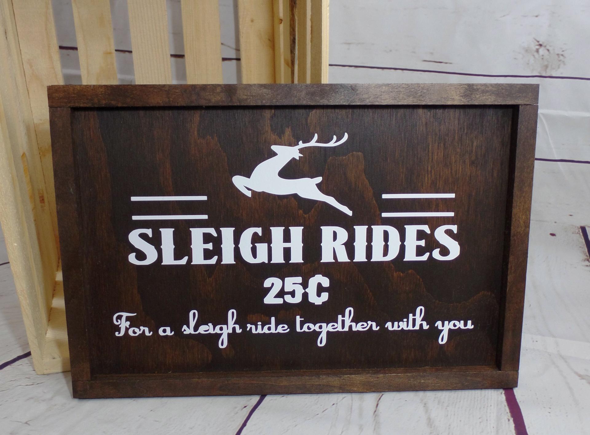 Rustic Christmas Farmhouse Framed Sleigh Rides Wood Sign
