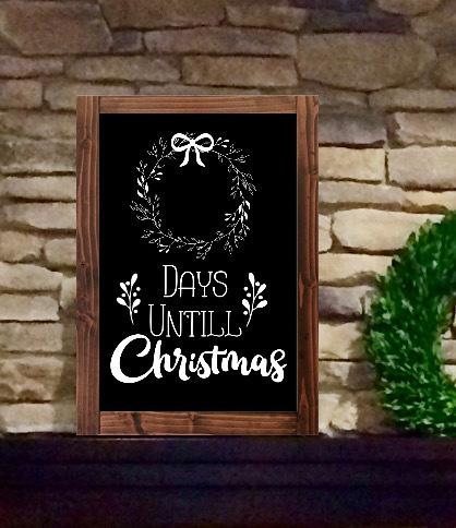 Advent Christmas Countdown Chalkboard Calendar Farmhouse Sign