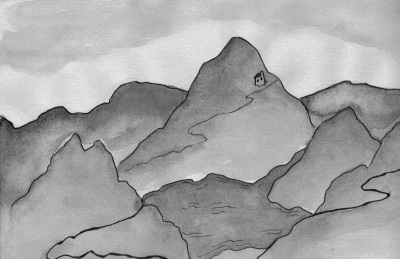 Pen and watercolour drawing of mountain and a lake.