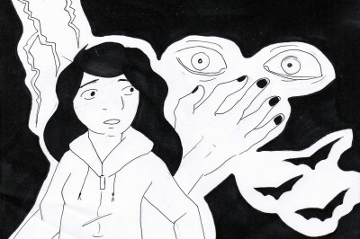 Ink drawing of a worried girl, scared eyes, bats and a hand covering a mouth.