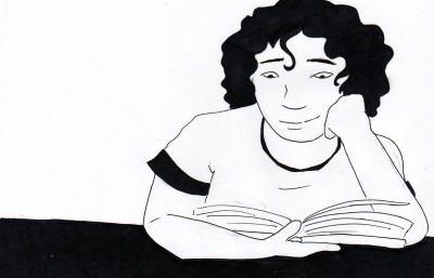 Ink drawing of a person reading.