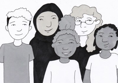 black and white ink drawing of a group of diverse children