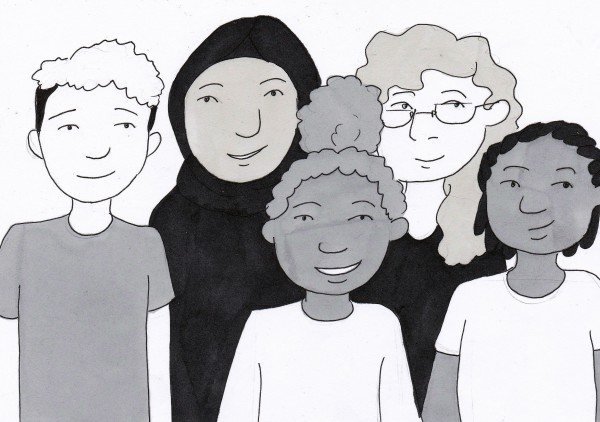 Ink drawing of a crowd of diverse young people.