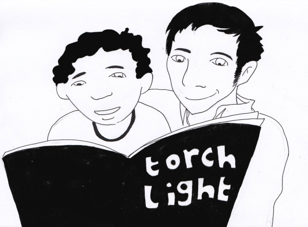 Ink drawing of an adult and child sharing a picture book.
