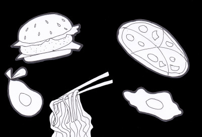 Ink drawing of food including: eggs, spaghetti, pizza, burger.