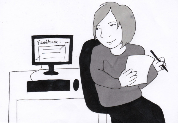 """Ink drawing of an author reading an email that says """"Feedback"""""""