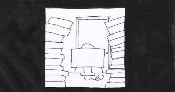 Ink drawing of a small room piled with books.