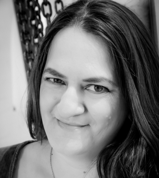 Black and white photo of Lorraine Gregory (author).