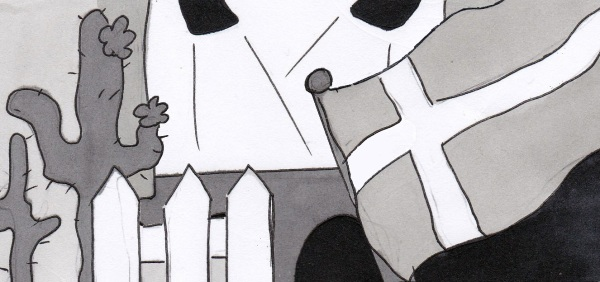 black and white ink drawing of cactus, stage and flag