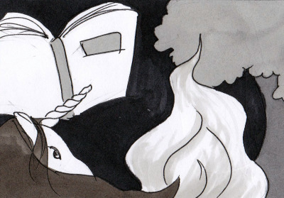 black and white ink drawing of unicorn, flame and book