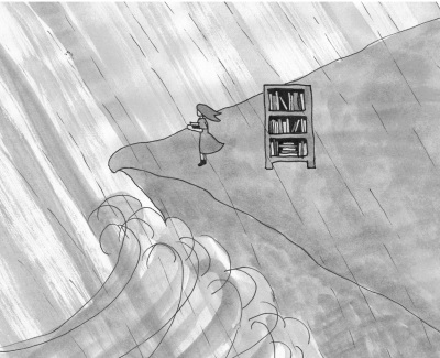 black and white ink & water colour drawing of girl and bookshelf on cliff top