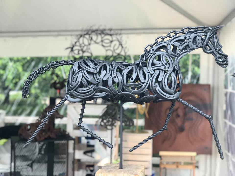 Trotting horse # black coated# H60cm-L90cm