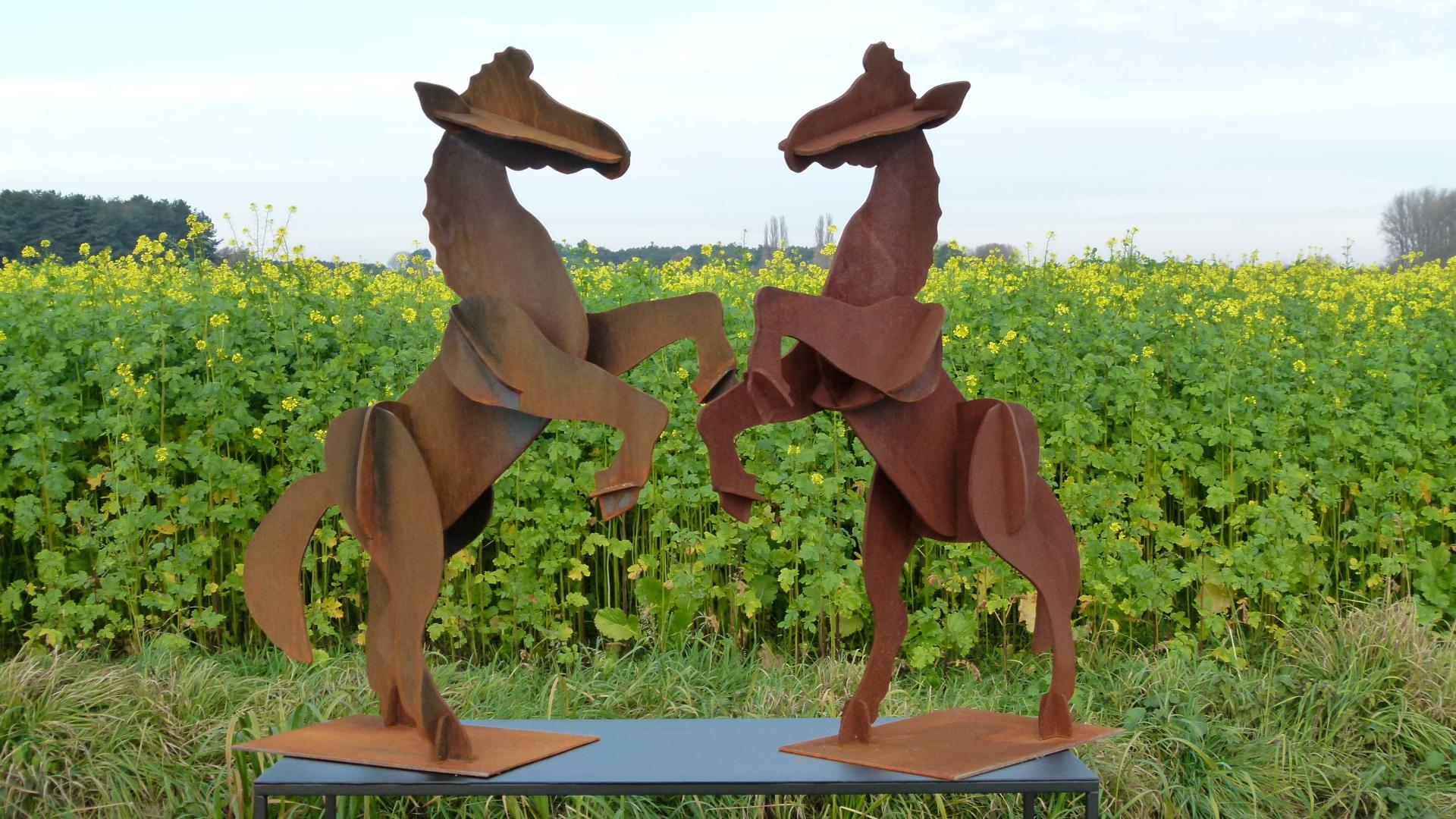 Rearing Horses in Corten Steel