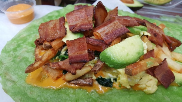 California Bee Breakfast Wrap PRIOR to wrapping up!
