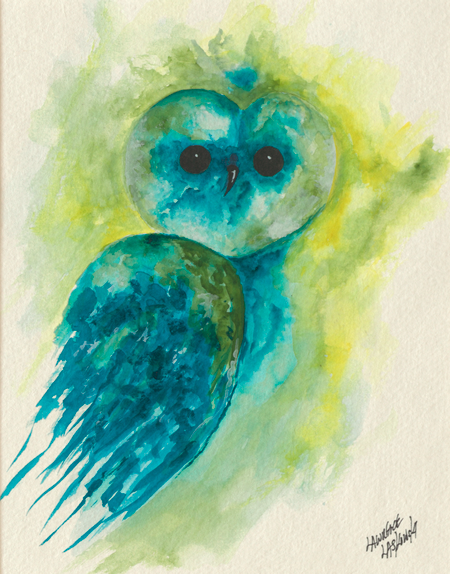 Blue-Green Barn Owl #2