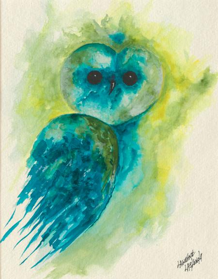 Blue-Green Barn Owl #2