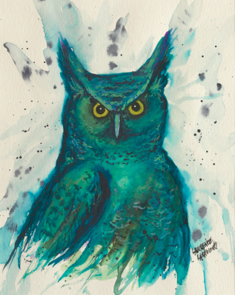Blue-Green Horned Owl