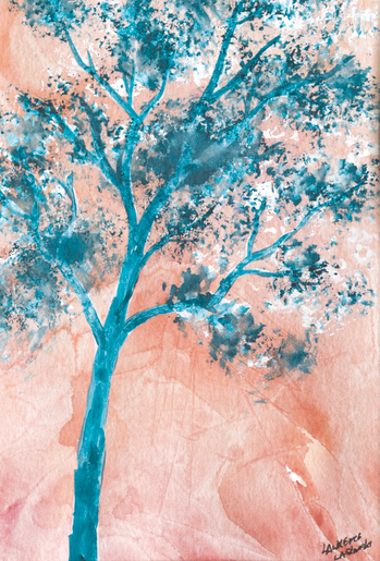 Coral-Blue Sky Tree