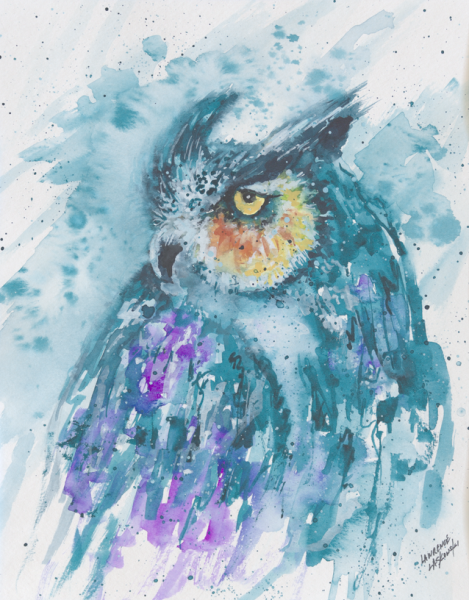 Blue-Purple Horned Owl