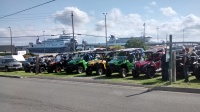 A picture of ATVs and side by sides waiting to get on the Newfoundland Ferry