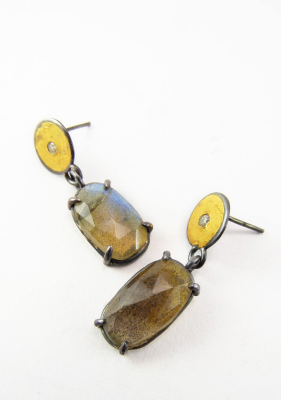 Silver and gold earrings with labradorite and cubic zirconias