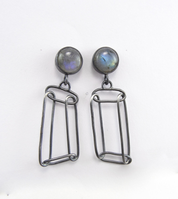 Geo dangle earrings with labradoraite