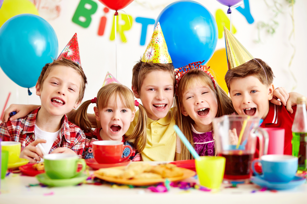 happy kids at a party,