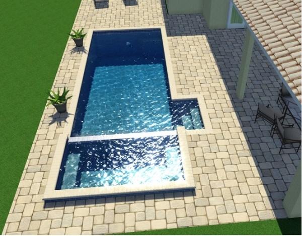 Piscina com spa e piscina infantil