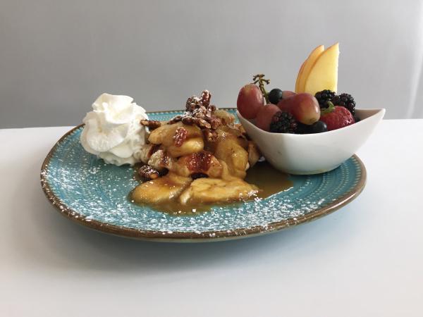Bananas foster Liége waffle