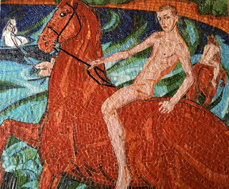 'Bathing of Red Horse' (based on painting by Petrov-Vodkin)