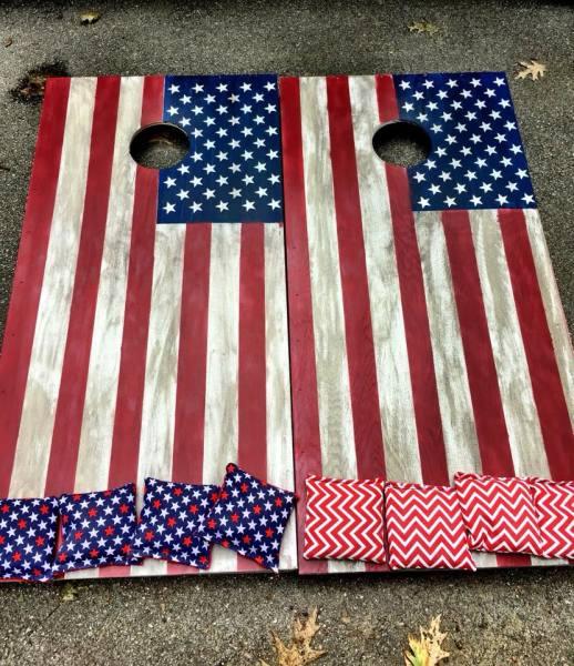 Rustic American Flag Cornhole Boards
