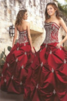 Suitable red wedding dress elicited woman