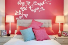 Adaptable beautiful bedroom isolated pink background