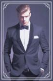 Elegant black costume positive young handsome man identified image