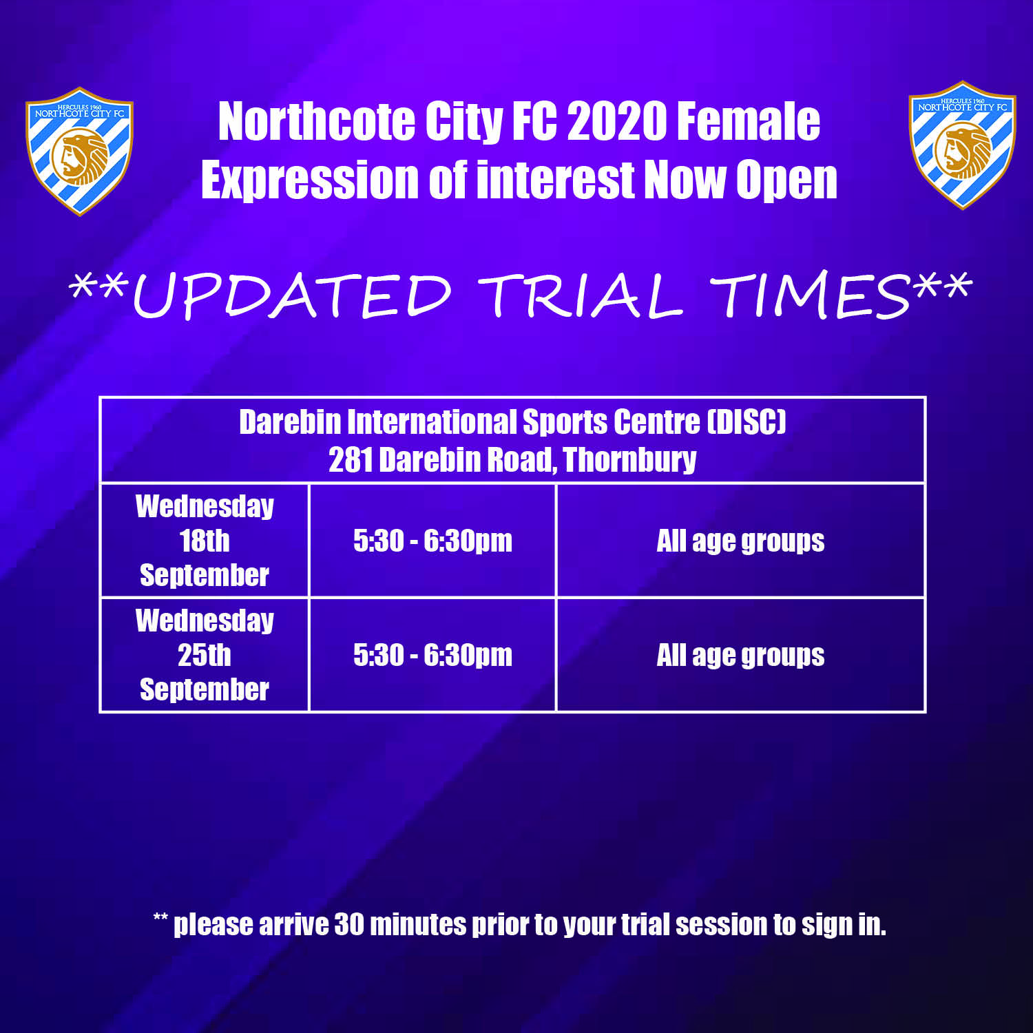 Female Expressions of Interest 2020